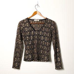 Vintage Black and Gold Lace V Neck Long Sleeve Top